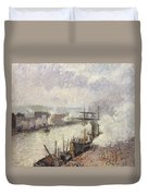 Steamboats In The Port Of Rouen  Duvet Cover