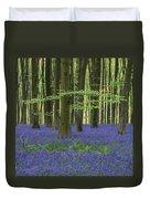 Stunning Bluebell Forest Landscape Image In Soft Sunlight In Spr Duvet Cover