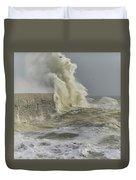 Stunning Dangerous High Waves Crashing Over Harbor Wall During W Duvet Cover