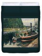 Barges At Pontoise  Duvet Cover