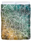 Milan Italy City Map Duvet Cover