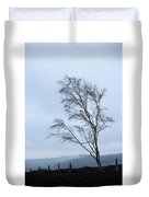Moody Winter Landscape Image Of Skeletal Trees In Peak District  Duvet Cover
