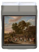 Peasants Dancing And Feasting  Duvet Cover