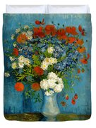Vase With Cornflowers And Poppies Duvet Cover