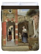 The Courtyard Of A House In Delft  Duvet Cover