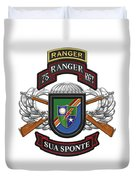 75th Ranger Regiment - Army Rangers Special Edition Over White Leather Duvet Cover