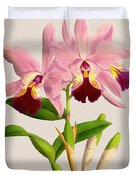 Orchid Vintage Print On Colored Paperboard Duvet Cover