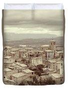 Beautiful Medieval Spanish Village In Sepia Tone Duvet Cover