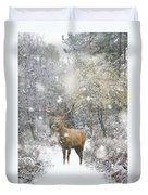 Beautiful Red Deer Stag In Snow Covered Festive Season Winter Fo Duvet Cover