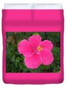 Bright Pink Hibiscus Duvet Cover