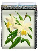 Orchid Framed On Weathered Plank And Rusty Metal Duvet Cover