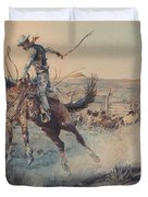 A Bucking Bronco, Edward Borein Duvet Cover