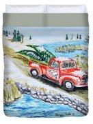 A Cape Cod Christmas Duvet Cover by Monique Faella
