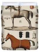 A Chromolithograph Of Horses With Antique Horseback Riding Equipments   1890  Duvet Cover