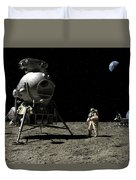 A Cosmonaut On The Moon Duvet Cover
