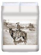 A Cowboy On Horseback, Photo, 19th Century Duvet Cover