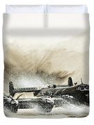 A Crippled Halifax Bomber Lands On The Ice Duvet Cover