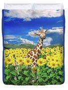 A Friendly Giraffe Hello Duvet Cover