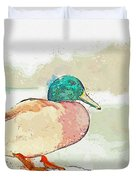 A Migrating Loon, Oslo, Norway -  Watercolor By Adam Asar Duvet Cover