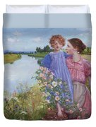 A Mother And Child By A River With Wild Roses 1919 Duvet Cover