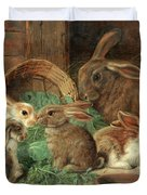 A Mother Rabbit And Her Young Duvet Cover