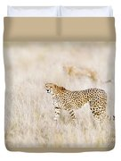 A Pair Of Cheetahs Move Steathily Through The Long Grass Of The  Duvet Cover