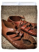 A Pair Of Roman Sandals Made Of Leather Duvet Cover