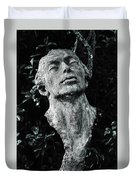 A Stone Bust In The Forest Duvet Cover