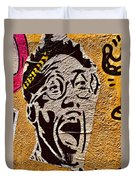 A Terrified Face On A Barcelona Wall  Duvet Cover