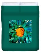 Abstract Gerbera Ink Flower Duvet Cover