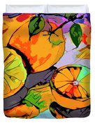 Abstract Oranges Modern Food Art Duvet Cover
