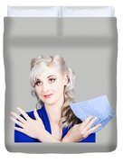 Adorable Female Pinup Cleaner Holding Dish Cloth Duvet Cover