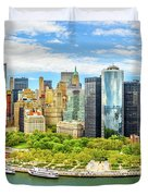 Aerial Panorama Of Downtown New York Skyline Duvet Cover