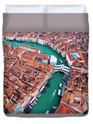 Aerial View Of Grand Canal And Rialto Bridge, Venice, Italy Duvet Cover