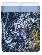 Aerial View Of Winding Mountain Road Through Forest Duvet Cover