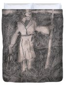 After Billy Childish Pencil Drawing 14 Duvet Cover