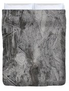 After Billy Childish Pencil Drawing 3 Duvet Cover