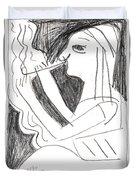 After Mikhail Larionov Pencil Drawing 1 Duvet Cover