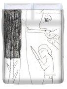 After Mikhail Larionov Pencil Drawing 10 Duvet Cover