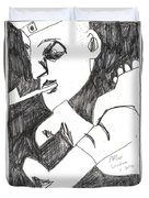 After Mikhail Larionov Pencil Drawing 4 Duvet Cover