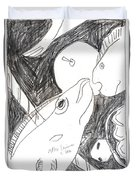After Mikhail Larionov Pencil Drawing 6 Duvet Cover
