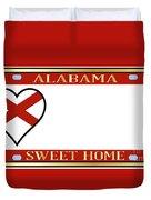 Alabama State License Plate Duvet Cover