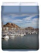 Alicante Marina And The Santa Barbara Castle Duvet Cover