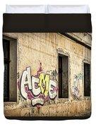 Alley Graffiti And Windows - Romania Duvet Cover