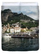 Amalfi Town Seen From Ferry Approaching Duvet Cover