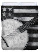 American Banjo Black And White Duvet Cover