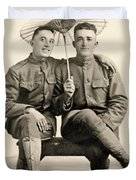 American Soldiers With A Parasol Circa 1915 Duvet Cover