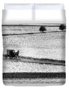 Amish Country Lancaster Pennsylvania Bw Duvet Cover