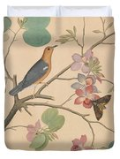 An Orange Headed Ground Thrush And A Moth On A Purple Ebony Orchid Branch, 1778 Duvet Cover
