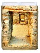 Ancient Windows Aztec Ruins Duvet Cover